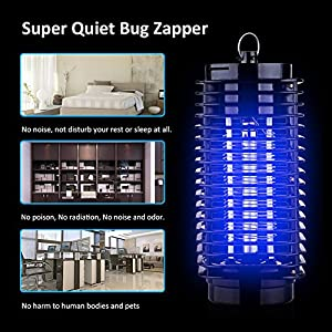 Mosquito Zapper, Zeeneek Electronic Mosquito Killer Lamp with Retractable Hook for Standing or Hanging Indoor and Outdoor Use, Effective Bug Zapper Trap Insect Killer, Automatic Killing Flying Pests