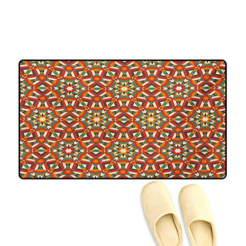 Doormat,Ethnic Traditional Damask Pattern Abstract Retro Symmetrical Oriental Design,Bath Mat for Tub,Multicolor,32