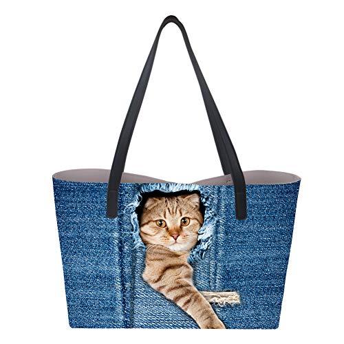 para mujer Print2 Sintética Piel Nopersonality Bolso Large Cat de de asas RYwqnPT67H