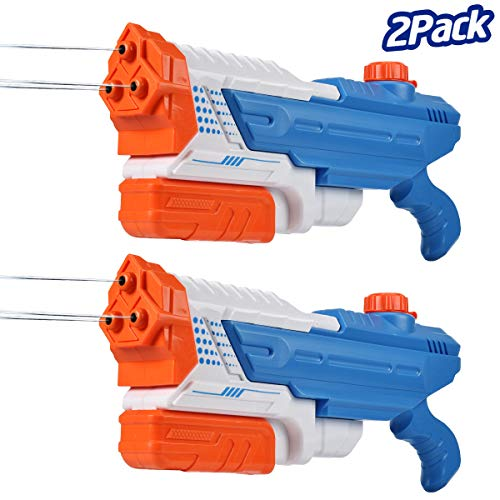 Mitcien Water Guns for Kids Adults Super Soaker Long Range Water Blaster Pistol Squirt Gun Pool Toys for Toddlers Kids Boys Girls Water Fight Outdoor, 3 Nozzles 1200CC High Capacity(2 Pack)