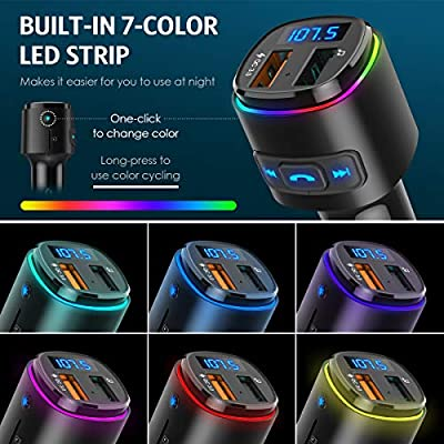 (2020 Upgraded New Version) Bluetooth FM Transmitter for Car, QC3.0 Charge, Dual USB Ports, 7 Color RGB LED Backlit Car Adapter, Support Siri Google Assitant, U Disk, SD Card, Hands-Free Car Kit: MP3 Players & Accessories