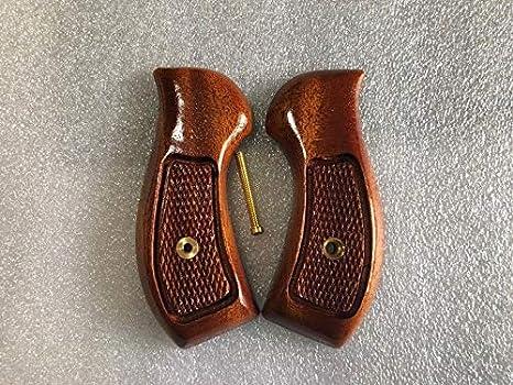 "New Taurus Small Frame Revolver Grips, M 85 38 Special 2"",Checkered  Hardwood -Thai Handmade Thai Handmade and Ship from Thailand"