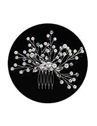 AmDxD Bridal Hair Comb for Womens,Simulated Pearl Crystal Headpiece for Wedding Hair Accessories