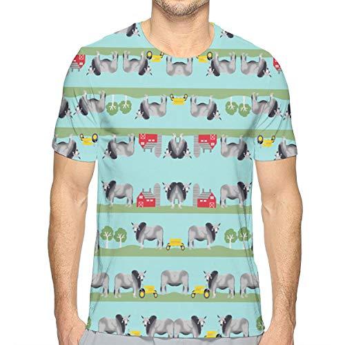 FANTASY SPACE Basic Short Sleeve Shirt for Youth & Adult Men Boys, Brahman Cattle Fabric Farm Ranch Design Summer Athletic Beefy T-Shirt, Beach Running Golf Quick Dry Workwear, Crewneck, Sweatproof ()