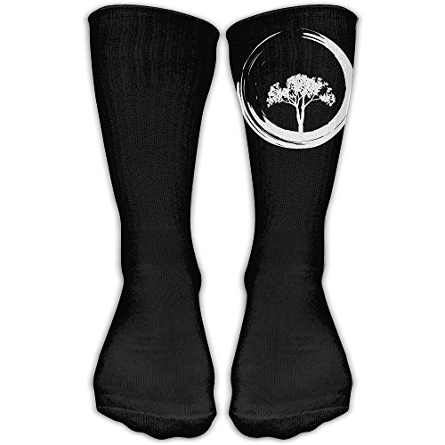 Tree And Zen Circle-1 Compression Thigh High Socks For Women And Men | Football Sport Long - Black Wallpaper All Rugby