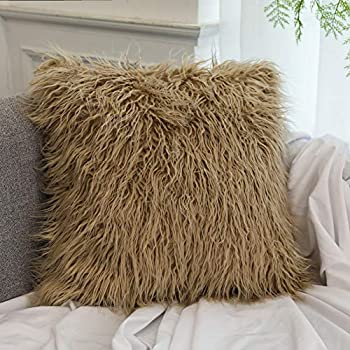 Amazon.com: Dikoaina Mongolian Faux Fur Pillow Cover