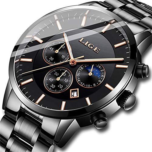 LIGE Watches Men Fashion Stainless Steel Sport Analog Quartz Watch Men Luxury Brand LIGE Waterproof Date Business Dress Wristwatch Man Black Gold Clock