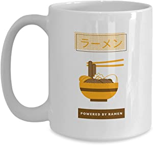 Mug Powered By Ramen Gift For Foodie Asian Food Japan Fan Coffee Tea Cup Large 15 Oz