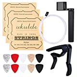 Ukulele Strings, Yoklili 5 Sets of Nylon Ukulele Strings with 10 Felt Picks, String Winder for Soprano (21 Inch) Concert (23 Inch) Tenor (26 Inch) Ukulele, and Bonus Capo included