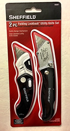 Sheffield 2-Piece Folding Lockback Utility Knife Set 95001 2 Piece Folding Knife Set