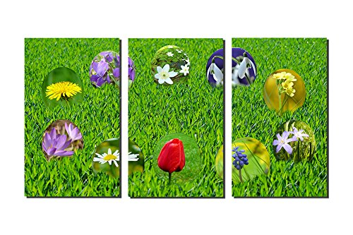 MOYI 3 Panel Stretched and Framed Flowers in Easter Egg