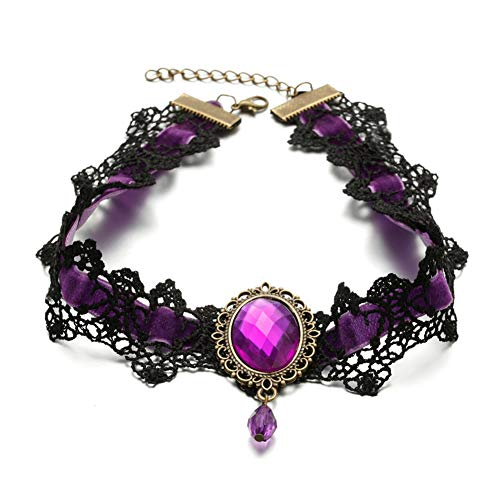 Prettie Choker Necklace for Women Gothic Black Lace Necklace for Halloween Punk Steampunk Costume Party Retro Lolita Victorian Choker Halloween Vampire Pendant Chain (Purple)