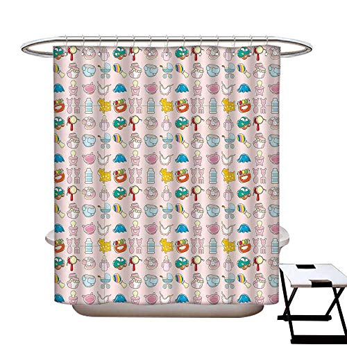 Baby Simple Shower Curtain A Vast Collection of Toys Cartoon Drawing Stroller Drum Car Pacifier Slide Playthings Waterproof partition Curtain 72