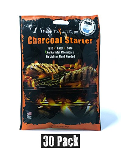 InstaFire Charcoal Briquette Fire Starter Pouches for Grills, Smokers, More - Chemical Free, Awarded 2011 Innovative Product Of The Year,30 Pk
