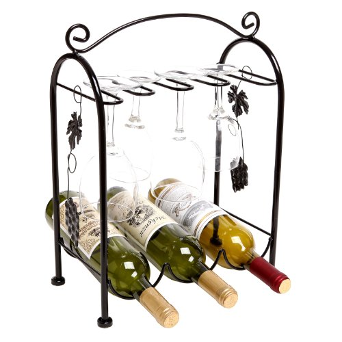 Grape Arbor Style Tabletop 3 Wine Bottles / 5 Wine Glasses Metal (Wine Bottle Stand)