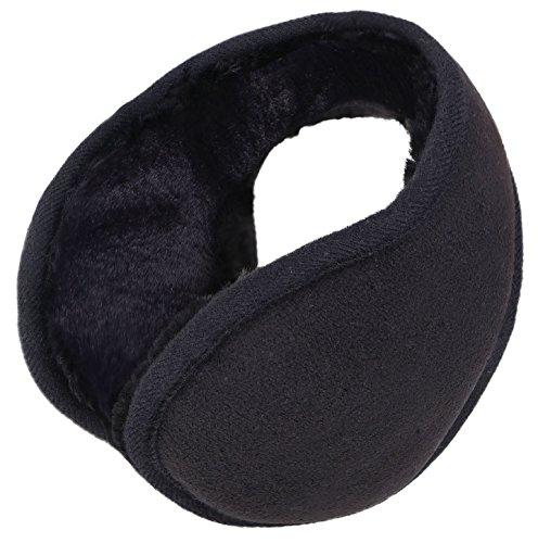Winter Earmuff Men / Women Foldable Ultra-Soft Plush Faux Fur Ear Warmers,Black (Warm Muffs Ear Plush)