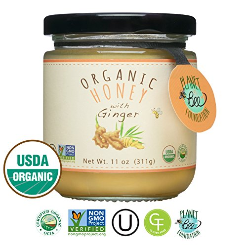 GREENBOW Organic Honey with Ginger - 100% USDA Certified Organic, Gluten Free, Non-GMO Organic Ginger Honey - Highest Quality Whole Food Organic Ginger Honey - 11oz (311g)