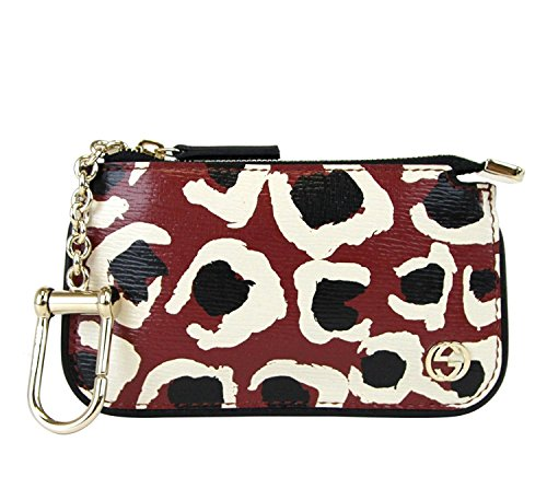Gucci Women's Red Leather Leopard Print Key Case Clip Pouch 233183 6268
