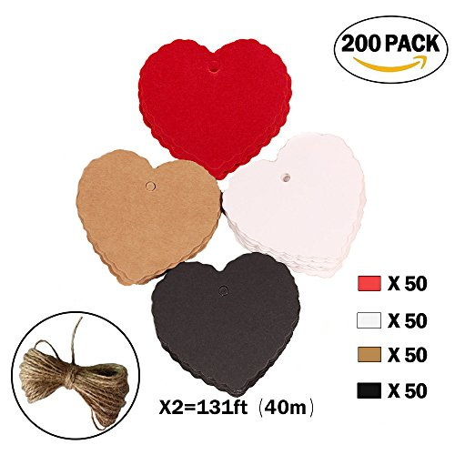 200pc Peach Heart Shape Kraft Paper Tags, CRIVERS Gift Tags/Hang Tags with Free Natural Jute Twine for Christmas Wedding Thanksgiving Birthday Holiday Party Favors (Holiday Gift Favor Tags)