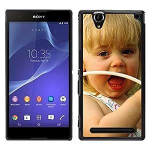 EJOY---Cubierta de la caja de protección para la piel dura ** Sony Xperia T2 Ultra ** --Niña sonriente lindo