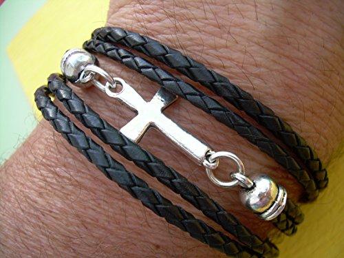 Black Braided Leather Bracelet, Cross Bracelet, Cross Jewelry, Toggle Closure, Triple Wrap, Black Braid, Mens Jewelry, Womens Jewelry, Wrap (Cross Toggle Bracelet)
