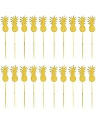 JANOU Hawaii Cake Topper Pineapple Cake Picks for Luau Beach Party Decoration Pack 20pcs