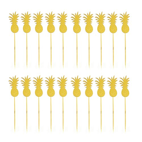JANOU Hawaii Cake Topper Pineapple Cake Picks for Luau Beach Party Decoration Pack 20pcs