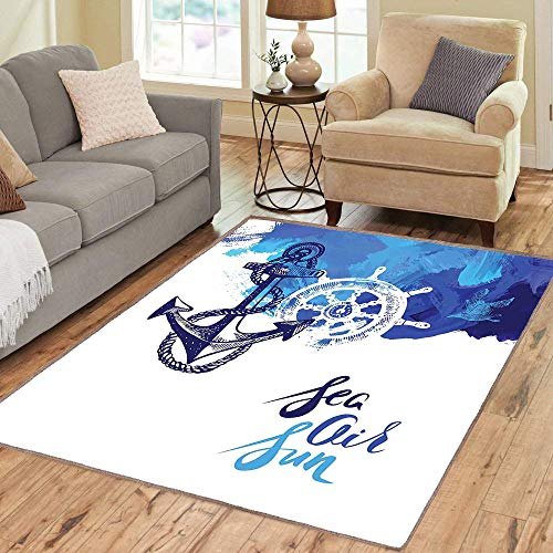 Square Living Room Carpets,Anti-Skid Rug,Nautical,Vivid Ocean Back with Paint Effects with Wind Rose and Rudder Cruise Image,Blue and White,Home,Indoor/Outdoor Carpet ()