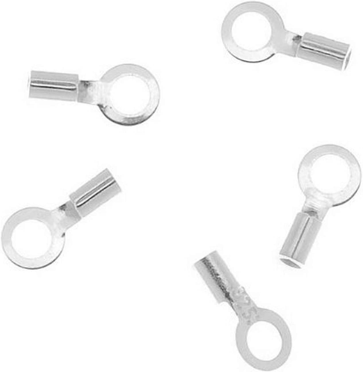 Beadaholique 10-Piece Sterling Small Beading Cord End Cap//Crimp Beads Silver
