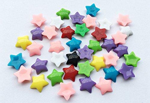 - 40pcs 12mm Pastel Stars Resin Flat Back Cabochons Colourful Scrapbooking F013