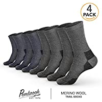 Pembrook Wool Trail Socks (4-Pack) – Soft, Warm, Thermal Merino Wool – Great for hiking, work, skiing, hunting. Sized for Men and Women