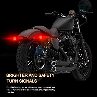 NTHREEAUTO 2 Inch LED Turn Signal Light, Rear 1157 Bullet Bulbs with Smoked Lens Cover Compatible with Harley Road King Heritage Softail Fat Boy Electra Glide: Automotive