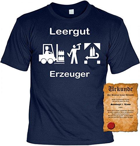 Witziges T-Shirt Party: Funshirt: Leergut Erzeuger - Mit Urkunde 'Spassvogel 1.Klasse'