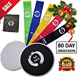 Kaizen Premium 80 Day Obsession Equipment Resistance Loop Bands and Core Sliders Set | Fitness Gear for Full Body Workout at Home | 100% Natural Latex Bands | Double-Sided Gliding Discs