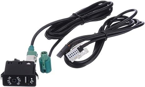 CatcherMy AudioControl Auto-CD-Konverter Stereo-Audio-Kabelbaumschalter f/ür BMW E60 E61 E63 E64 E87 E90 E70 F25 Auto AUX USB-Buchsenschalter + AUX USB-Kabel