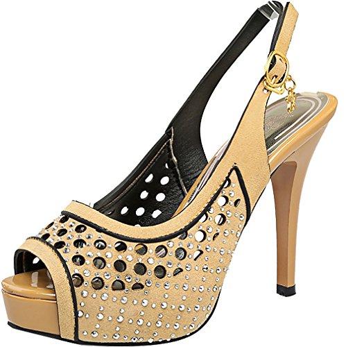 Calaier Femmes Salde Ouvert-toe 12cm Stiletto Boucle Sandales Chaussures Jaune