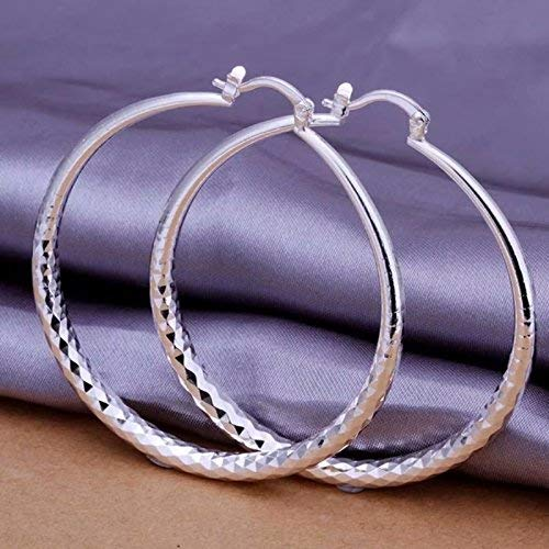 Women Fashion 925 Sterling Solid Silver Ear Stud Hoop Earrings Wedding Jewelry