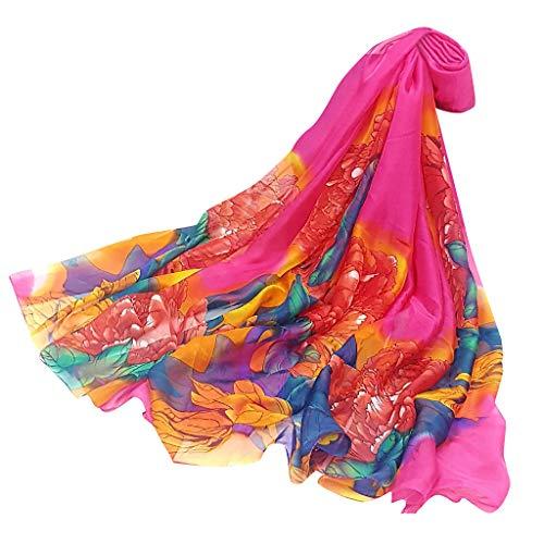 (HYIRI Square Satin Women Ladies Peony Scarf Sunscreen shawl Infinity Wrap Silk Shawl)