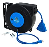 CopperPeak 50 ft Retractable Extension Cord Reel - Ceiling or Wall Mount - 14 gauge - Blue and Black
