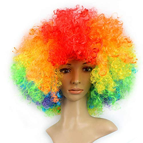 Short Peruke Afro Wigs Halloween Party Dress Funny Clown Wig Props Large Popcorn Party Hats Festival Synthetic Hair Wig,Colorful]()