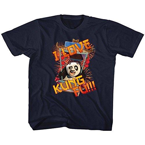 Kung Fu Panda I Love Kung Fu Panda Navy Youth T-Shirt Tee