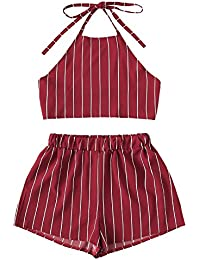 Women's 2 Piece Outfit Summer Striped V Neck Crop Cami...