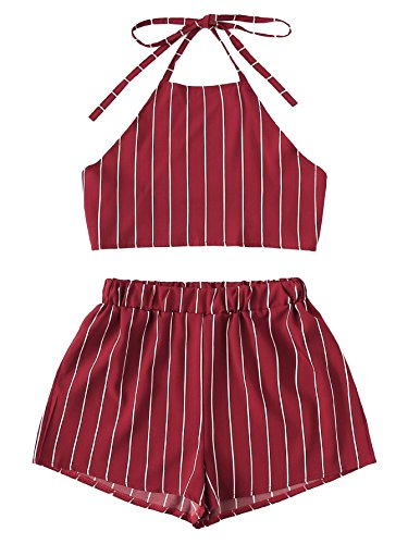 MAKEMECHIC Women's 2 Piece Outfit Summer Striped V Neck Crop Cami Top with Shorts Red-1 XL