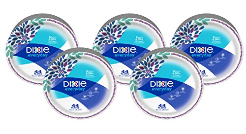 Dixie Everyday Disposable Paper Plates, 10 1/16 inch, 220 Count, Dinner Size Disposable Plates (5 Packs of 44 Plates)