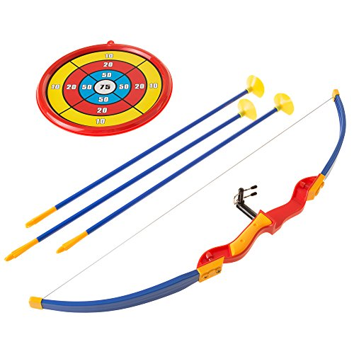 Price comparison product image Hey!Play! Kids Bow and Arrow Set with 3 Suction Cup Arrows,  Target - Safe Toy Archery Game Kit for Boys and Girls By
