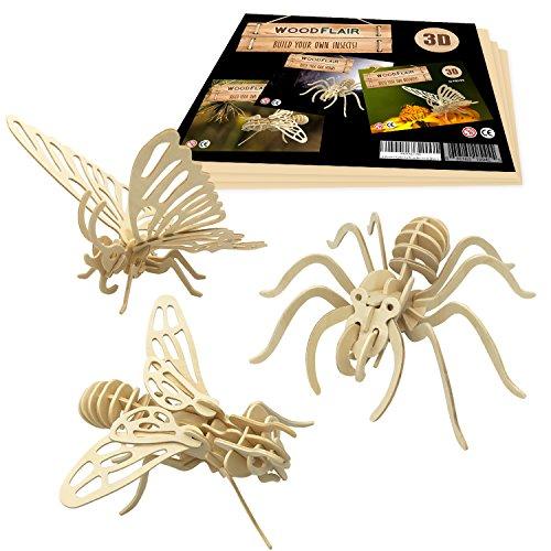 WoodFlair 3D Wooden Puzzle, Set of 3, Insect ()