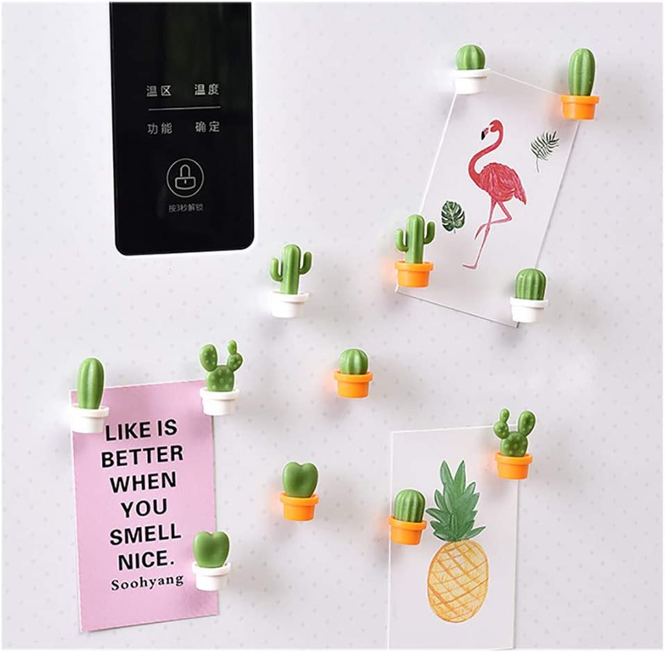 White bulingbuling 6 Pcs//Set Cactus Magnets Cute Kitchen Refrigerator Magnets Cactus Succulent Magnets Creative Design Refrigerator Sticker Kitchen Gadgets