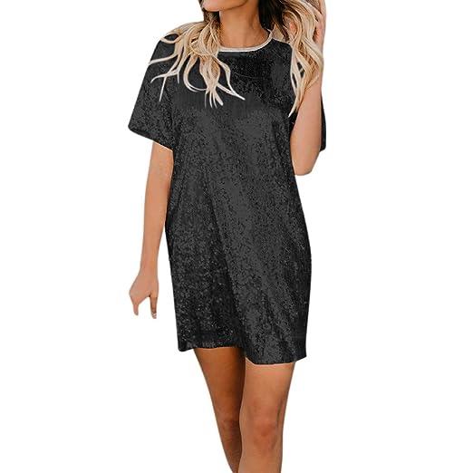 db21d93e192231 Sagton Women Sequin Splice Short-Sleeve Loose T-Shirt Dresses at ...