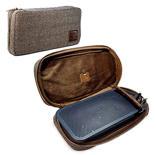 Tuff Luv Herringbone Tweed NFC Travel Case for Bang & Olufsen B&O Beoplay A2 Bluetooth Speaker with NFC Tag - Brown
