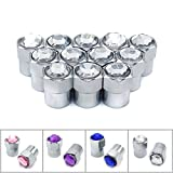 cool accessories for trucks - Sparkle Rider Crystal Rhinestone Diamond Bling Tire Valve Stem Caps - Chrome Air Cover fits Schrader Valves - Cool Car, Motorcycle, Truck or Bicycle Wheel Accessory (12-piece set, Clear)